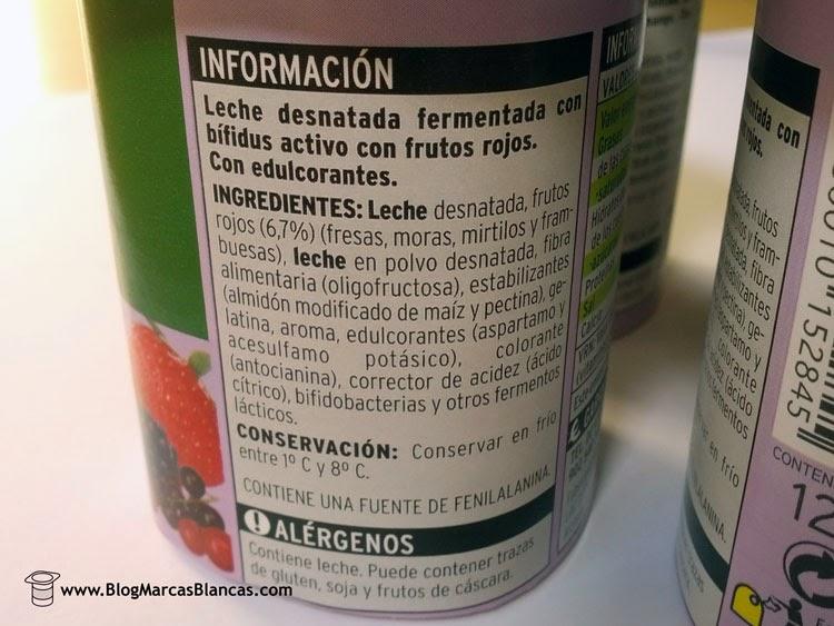 """Ingredientes del yogur con bífidus con frutos rojos o mango """"Biactive"""" EROSKI"""