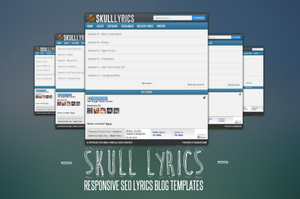 Skull Lyrics Responsive SEO Blogger Template