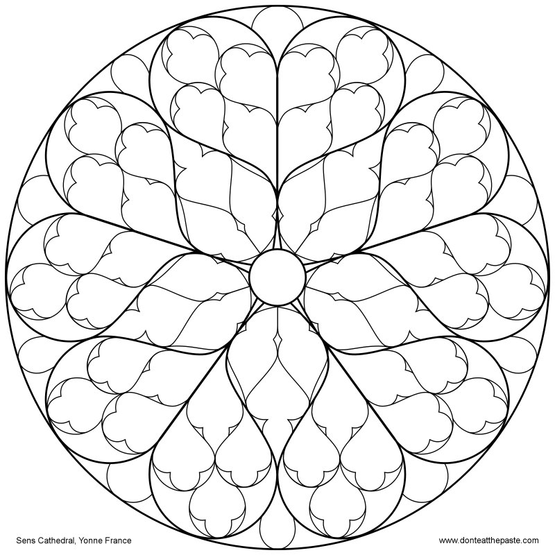 Don 39 t eat the paste sens cathedral rose window to color for Rose window design