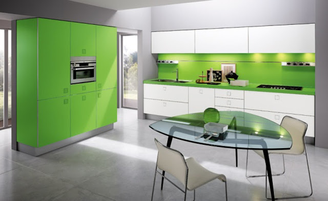 Retro Green Kitchen Layouts Design Wallpaper