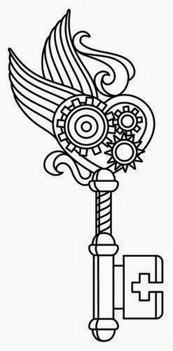 Key heart biomechanical (steampunk) tattoo stencil