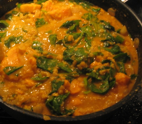 On Herbs and Herbivores: Sweet Potato, Red Lentil and Spinach Curry
