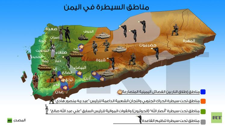 إنفوجرافيك: مناطق السيطرة في اليمن