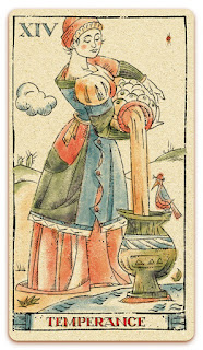 Temperance card - Colored illustration - In the spirit of the Marseille tarot - major arcana - design and illustration by Cesare Asaro - Curio & Co. (Curio and Co. OG - www.curioandco.com)