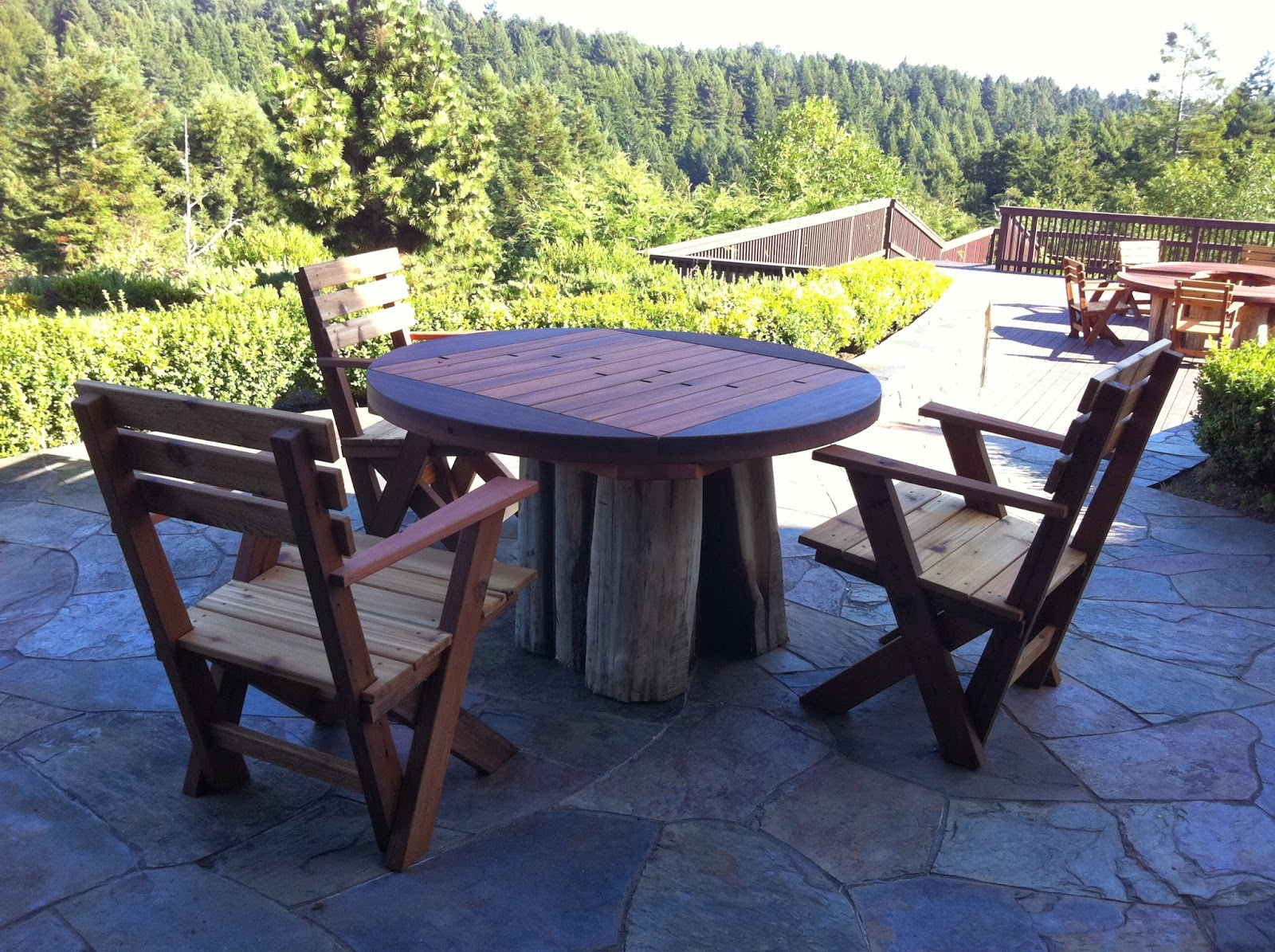 Salvaged Redwood Patio Furniture