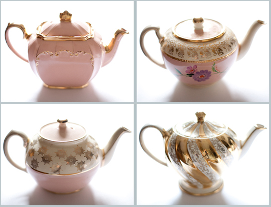 vintage pink, gold and white floral and patterned teapots