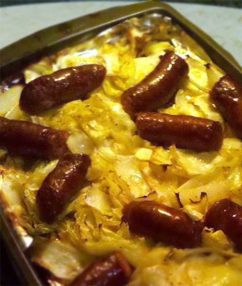 Roasted Cabbage with Kielbasa. Low carb. Easy To Make. So Tasty!