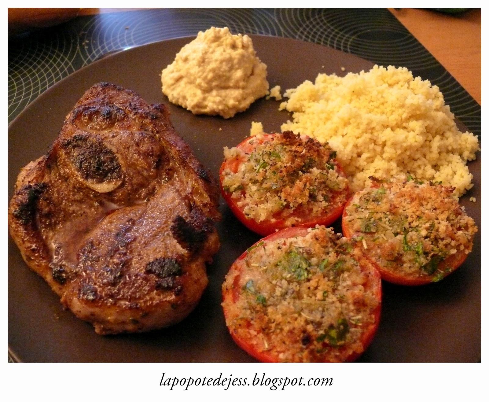 La popote de jess paule d 39 agneau houmous tomates proven ales semoule parfum e - Cuisiner une epaule d agneau ...