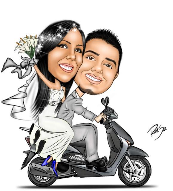 noivo e noiva com moto honda