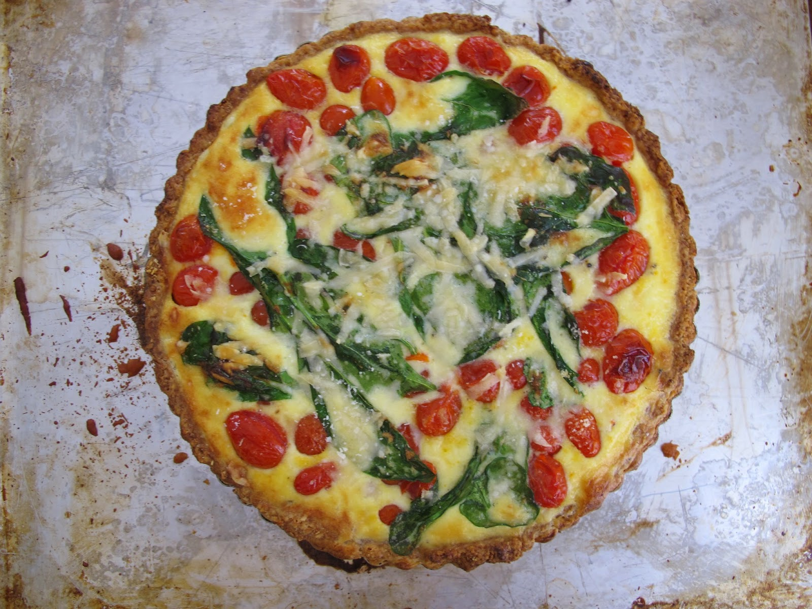 Huckleberry Corn, Cherry Tomato, & Spinach Quiche