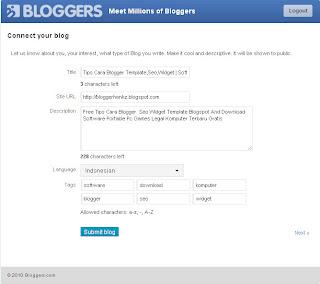 cara daftar dan memasang widget bloggers