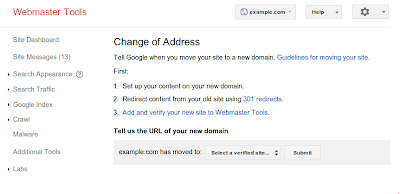 Change of address option in Google Webmaster Tools