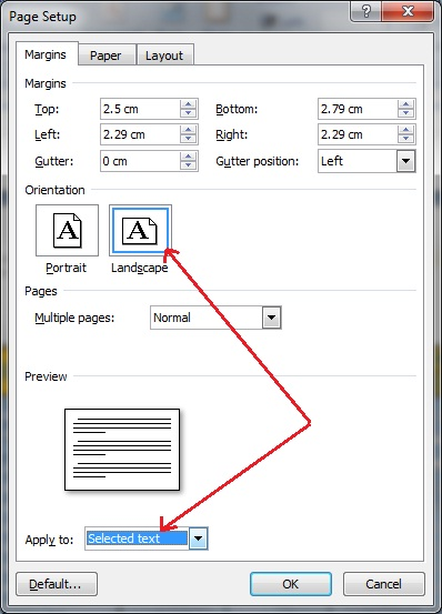 how to make one page landscpae on word
