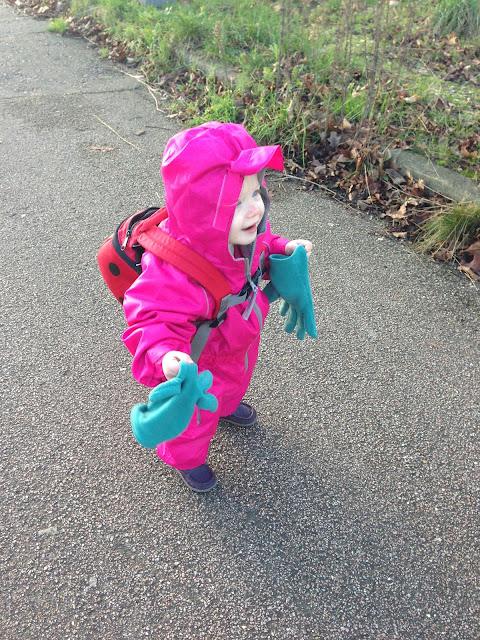 Big gloves, little lady