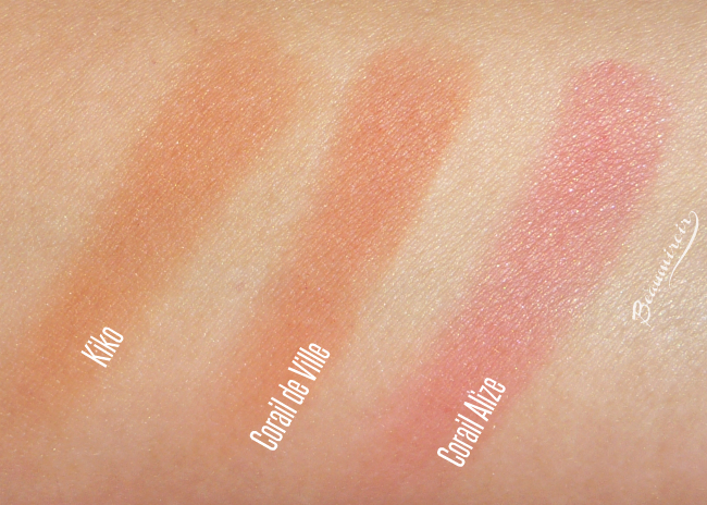 Lancome My Parisian Blush in Corail de Ville: comparative swatches