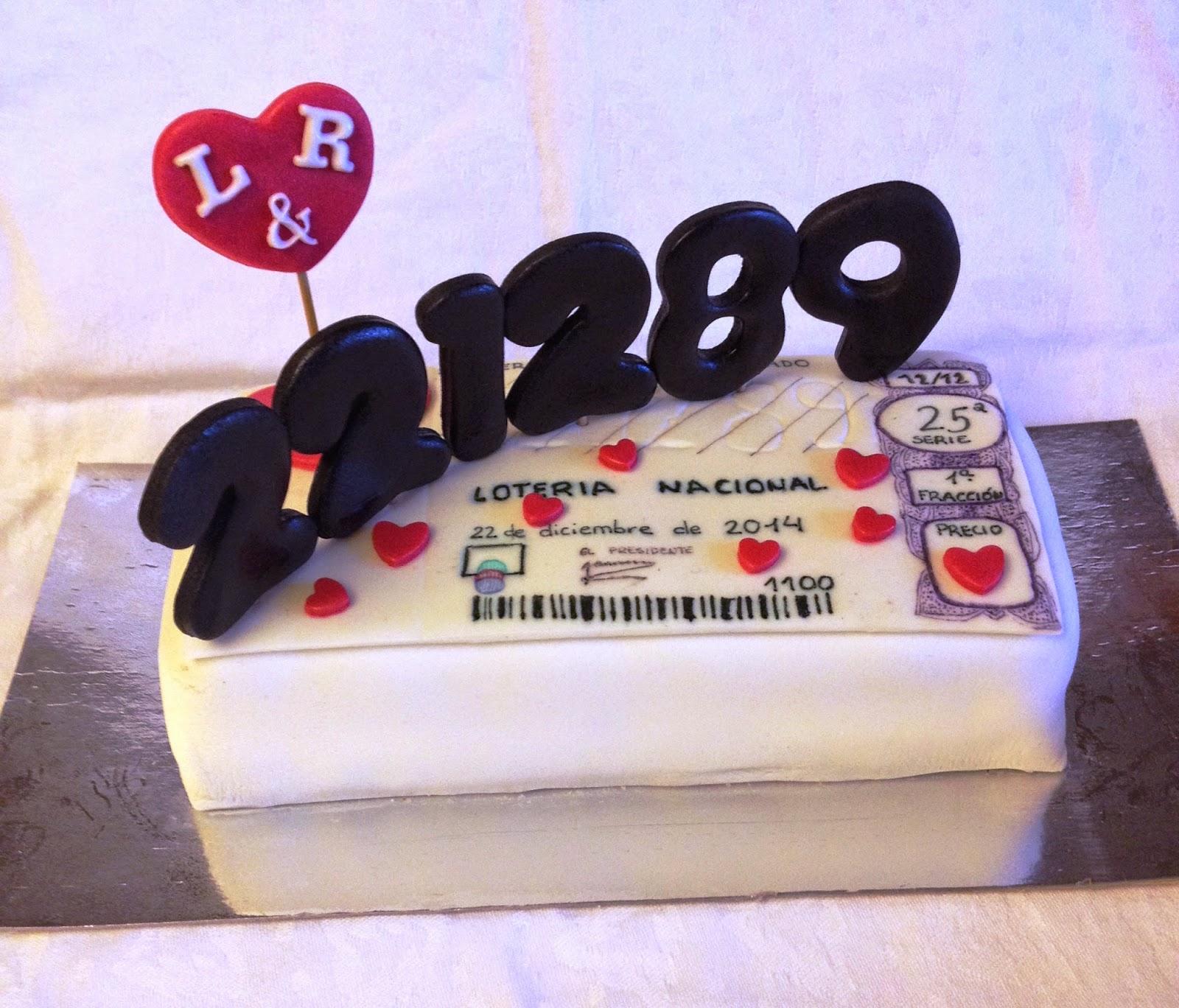 décimo de lotería; tarta decorada décimo de lotería; tarta décimo de lotería
