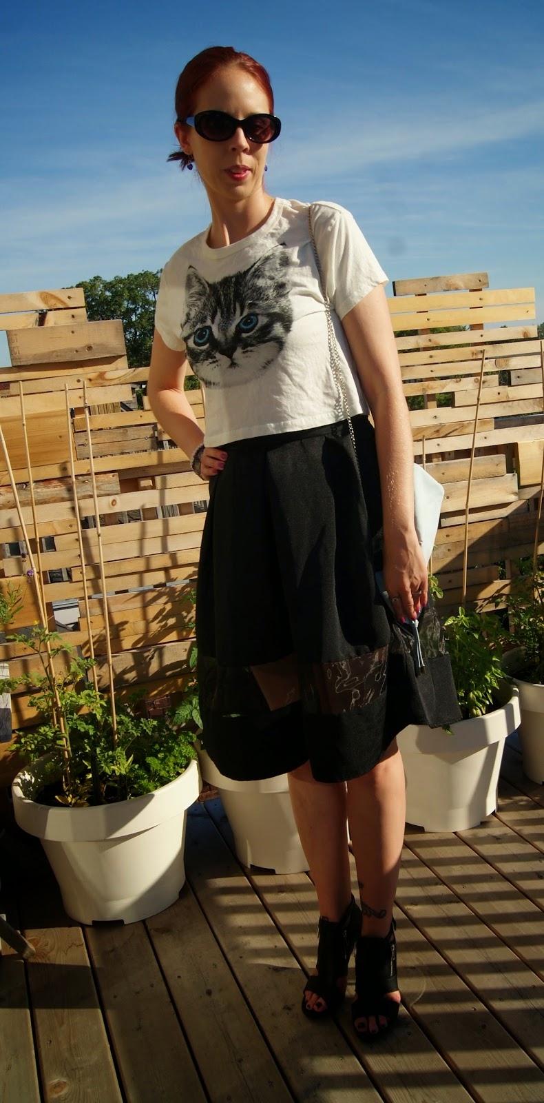 Chic, Sexy, + Fun!: Express Full Skirt, Forever 21 Crop Top and Shoes, H&M Purse, Shop For Jayu and Joseph Nogucci Bracelets, fashion, style, styletips, heels, clutch, cat,kitty,Toronto, Ontario, Canada, Melanie_ps, the purple scarf,