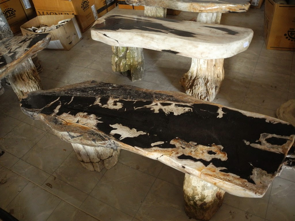 Stone garden bench indogemstone for Petrified wood furniture for sale