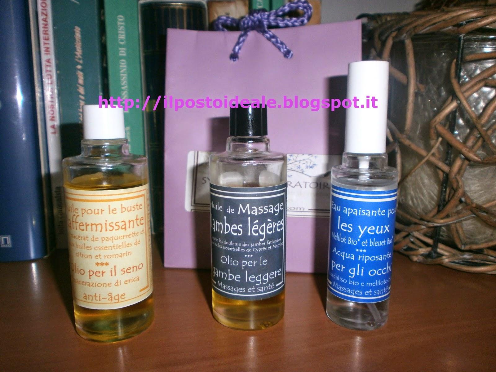 Sydella: olio rassodante busto, gel massaggio gambe leggere, acqua riposante occhi