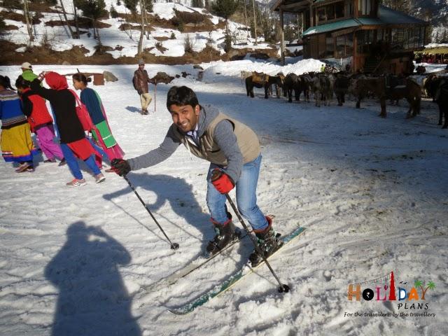 Gazi is excited doing skiing