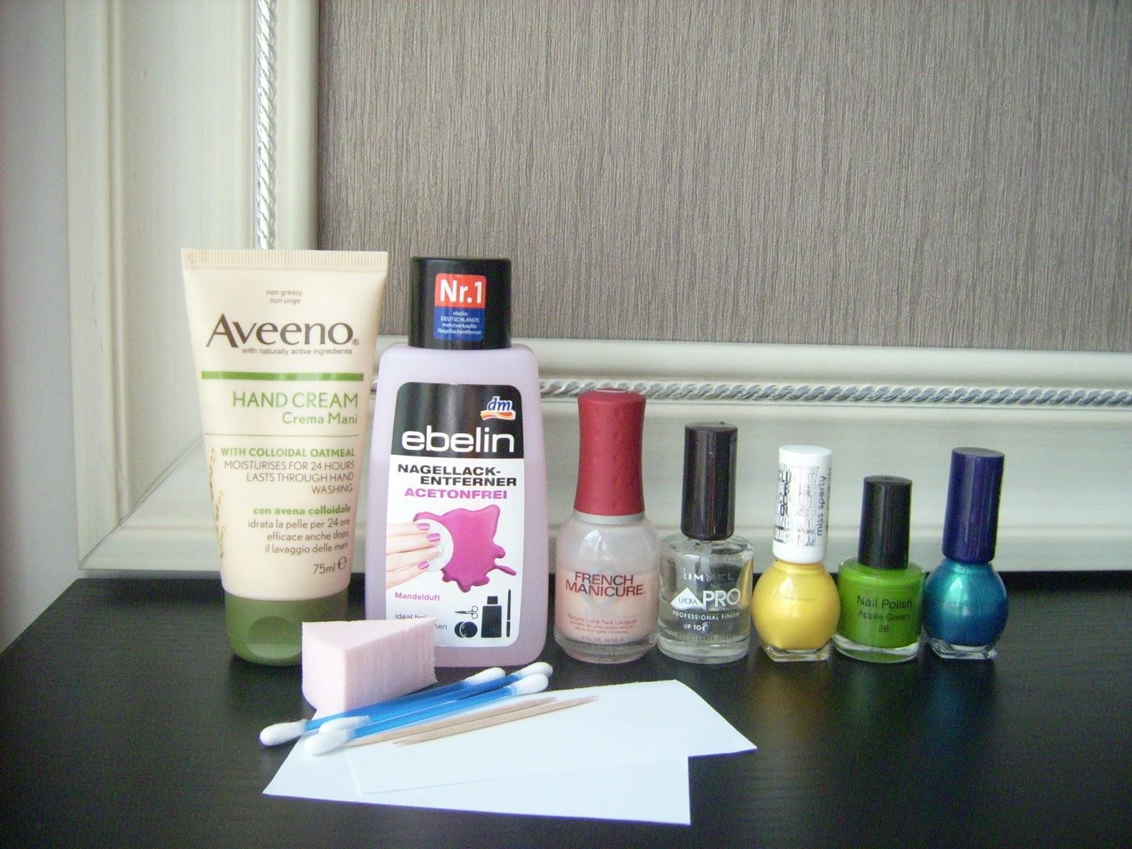 aveeno hand cream, ebelin, miss sporty, orly, rimmel nail polish
