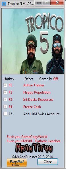Tropico 5 V1.06 Trainer +4 MrAntiFun