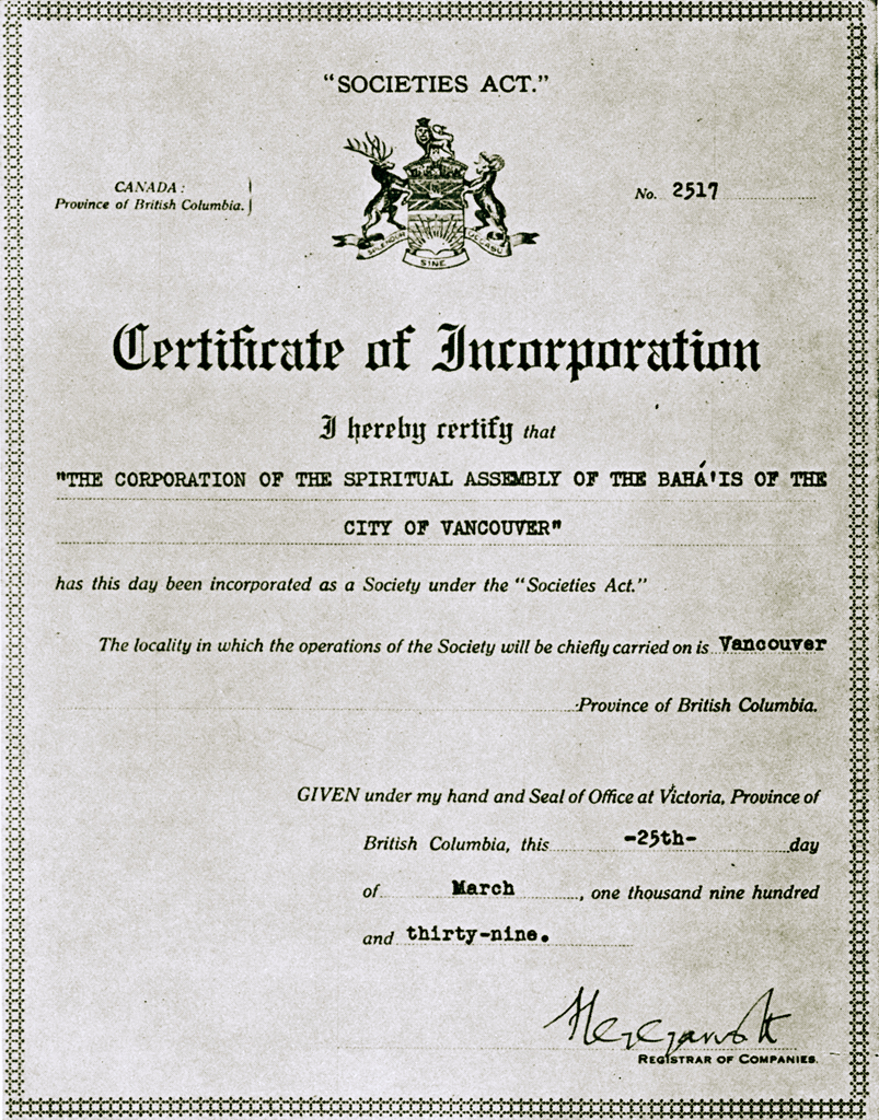 Bahai historical facts 1939 certificate of incorporation of the 1939 certificate of incorporation of the spiritual assembly of the bahais of the city of vancouver canada xflitez Images