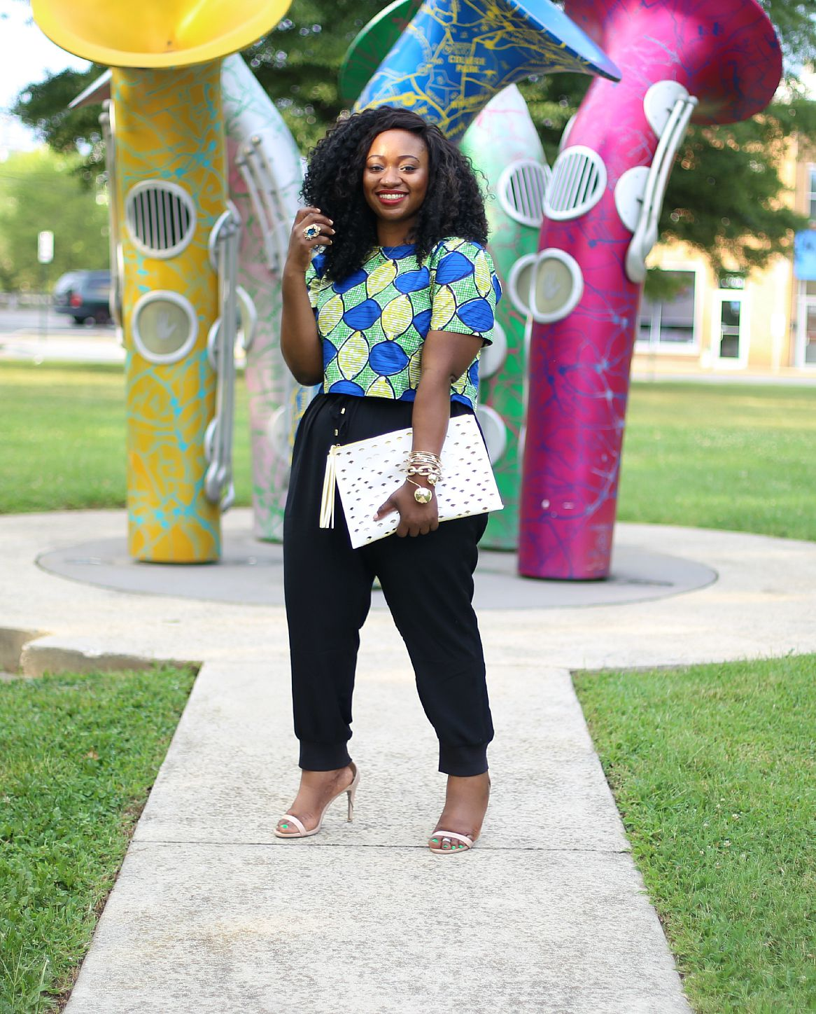 The Perfect Duo: High Waisted Pants & Ankara Crop Top | Road to Fashionable