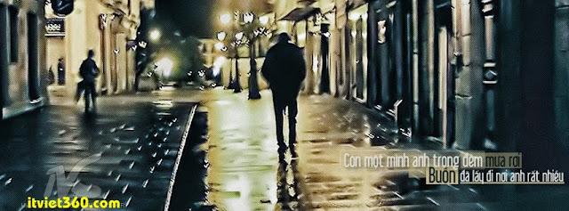 Ảnh bìa cho Facebook mưa | Cover FB timeline rain, còn 1 mình anh trong đêm mưa rơi