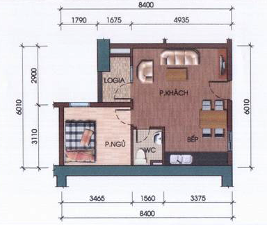 - Thiết kế căn hộ 1 phòng ngủ với diện tích 45m2