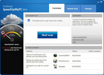 SpeedUpMyPC 2013 grátis por um ano