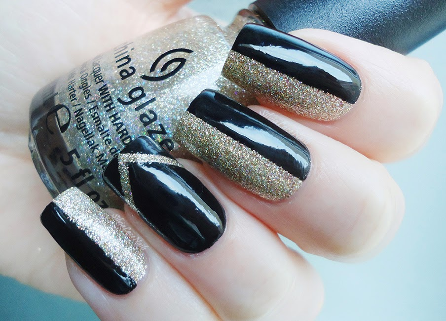 Silvia Lace Nails: New Years\' Eve nails: black and glitter, and matte