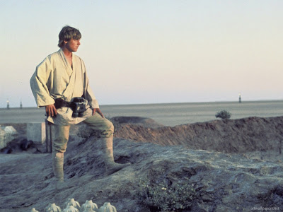 star wars, luke looking at the suns, wondering, future, quest