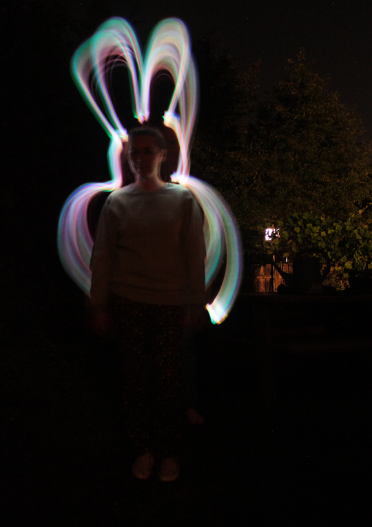 light painting photo bunny