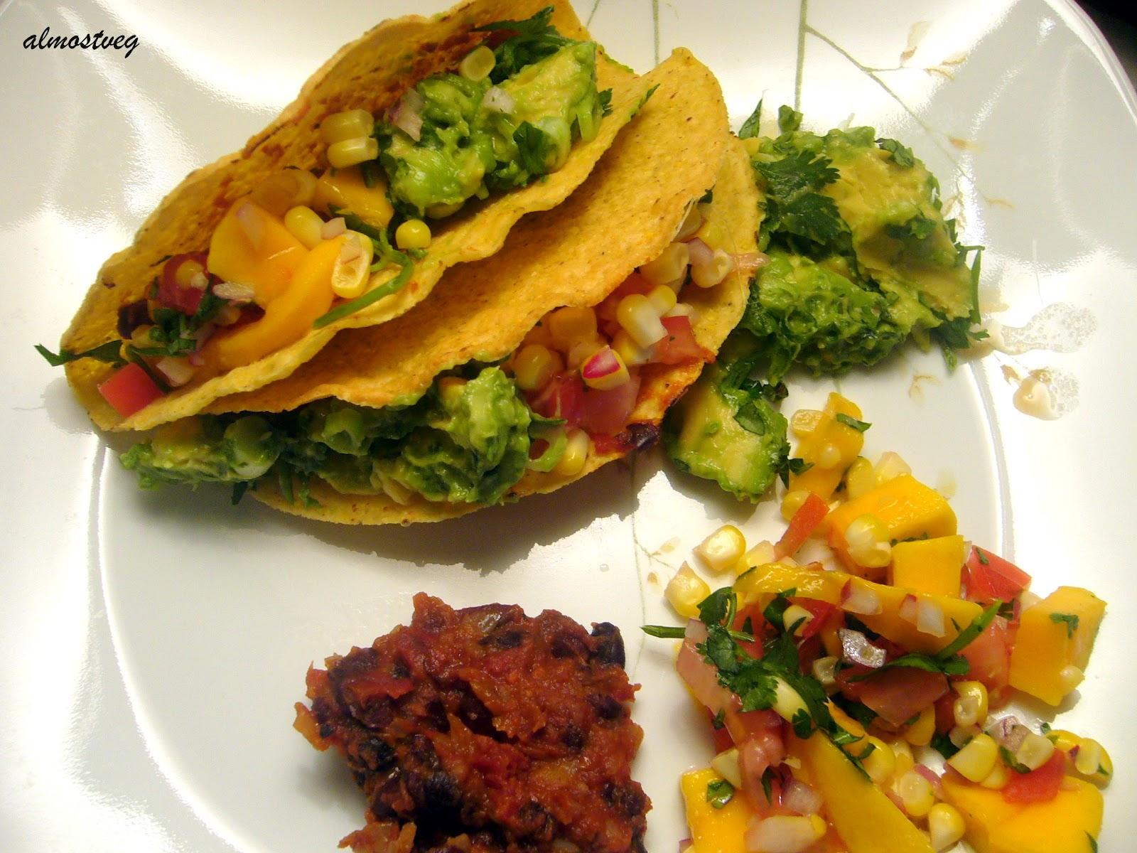 black bean tacos with mango salsa and guacamole one box of corn tacos ...