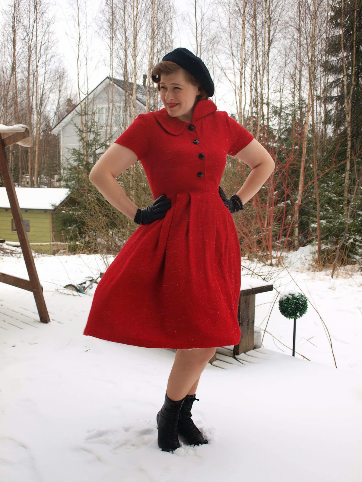 50's red dress winter black boots Cherise Lorelei fashion repro vintage