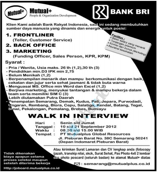 PT Bank BRI (Persero) - Walk in Interview Frontliner, Back Office