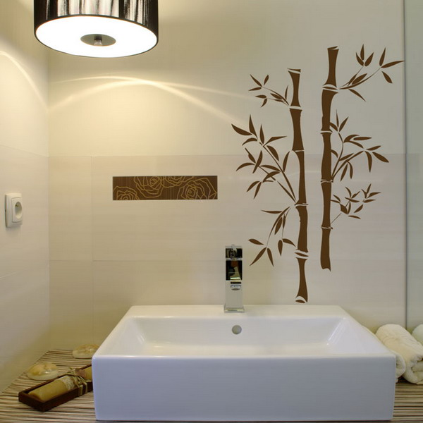 Art wall decor bamboo flooring bathroom wall green for Bathroom wall mural ideas
