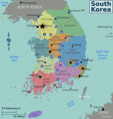 Peta Korea Selatan : Seoul Daegu Gyeonggi Busan Incheon Jeju