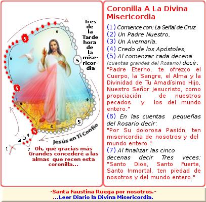 formato con la forma de rezar la coronilla para pedir un favor a dios misericordioso
