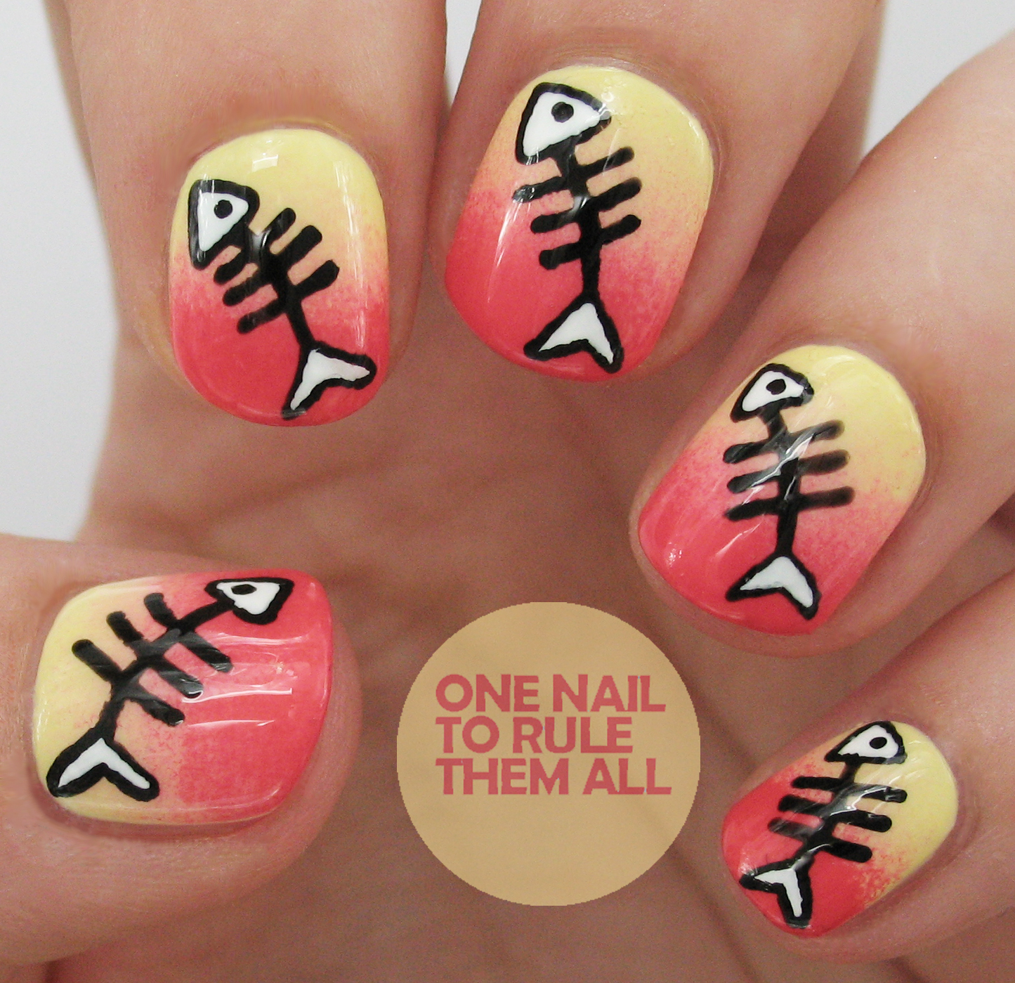 This design was inspired by a picture I saw on WAH Nails Instagram a few  months ago, if you dig around you can probably still find it. - One Nail To Rule Them All: Fish Bones + Tutorial