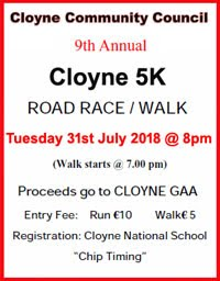 Flat 5k in Cloyne, East Cork... Tues 31st July 2018
