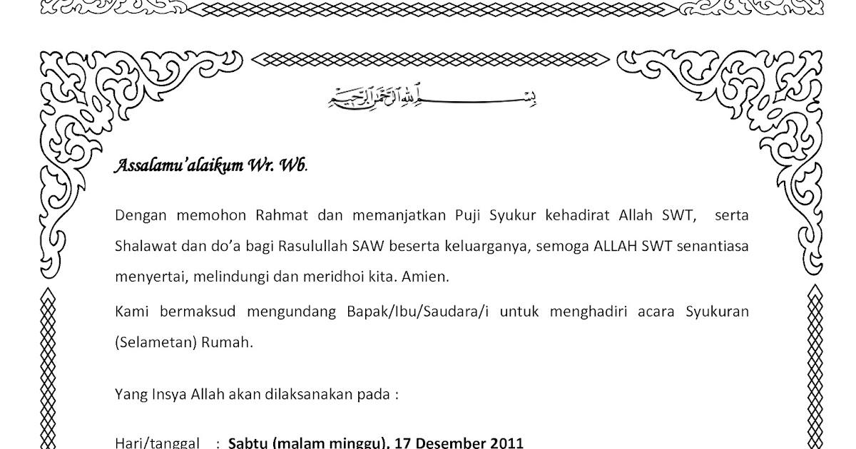 Contoh Undangan Syukuran (selametan) Rumah Baru ~ one for ...