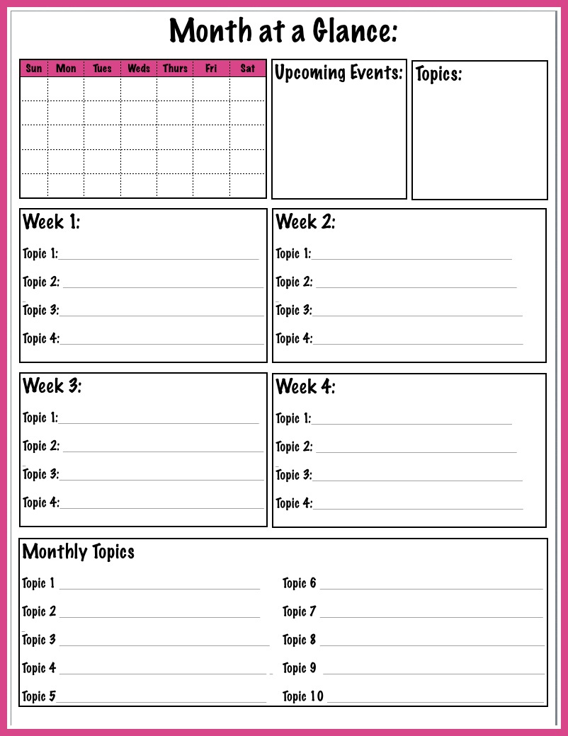 Month At A Glance Calendar | Calendar Template 2016