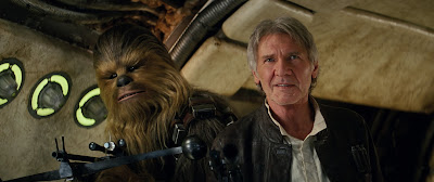 Peter Mayhew and Harrison Ford in Star Wars: The Force Awakens