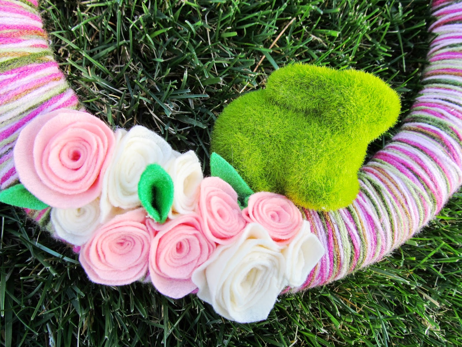 Cute little mossy bunny on a Spring wreath!