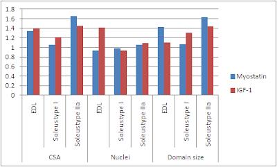 Nombre de noyaux et volume du domaine myonucléaire de souris déficientes en myostatine et de souris qui surexpriment l'IGF1 en rapport à des souris ordinaires (contrôle)