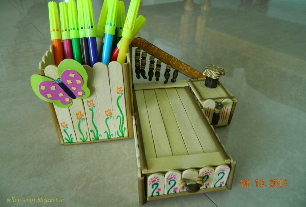 Doll Bed Pen Stand Yellow Craft