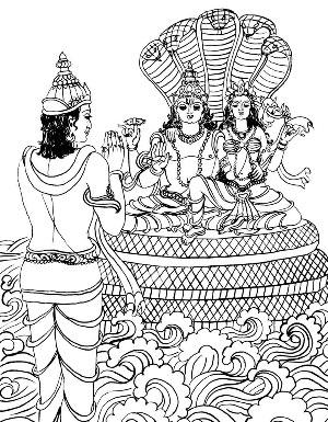Free Lord Brahma Coloring Hindu God Pages Diwali Sheets