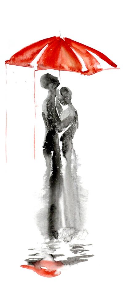 Elena Romanova vandfarve maleri: Kærlighed under den røde paraply